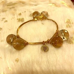 Bourbon and Bowties Gold Glitter Bead Bangle